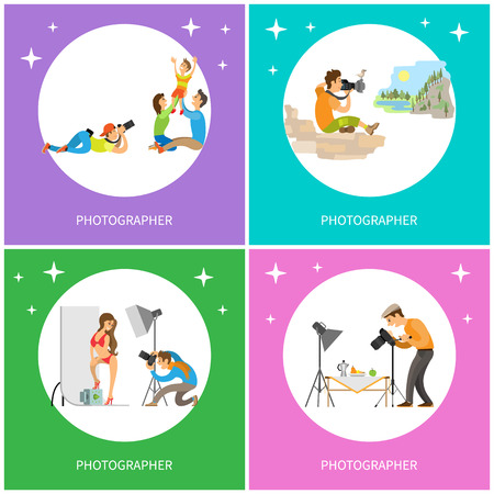 Photographer taking picture of parents and kid, journalist making shots of celebrity in bikini, cameraman photographing food, paparazzi and mountains vector Иллюстрация