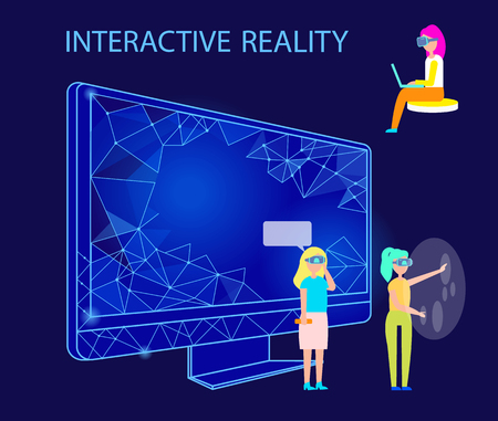 Interactive reality people using gadgets vector. Male and female wearing vr glasses entertaining in cyberspace. Mobile systems and computer monitor