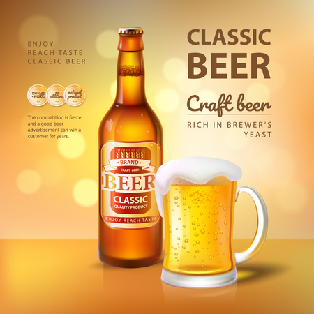 Craft Beer in Bottle and Mug with Foam Poster