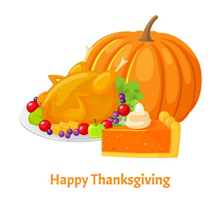 Happy Thanksgiving Day Poster and Food Vector