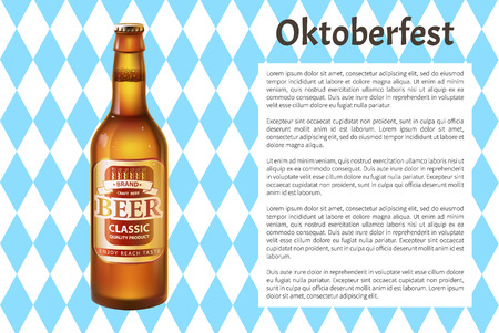 Oktoberfest poster craft beer in bottle with cap and frame for text. Alcohol drink made of hop and barley inside glass container. Label on beverage 3D vector Illustration