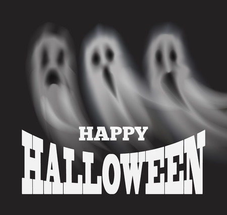 Happy Halloween Poster with Apparitions Vector