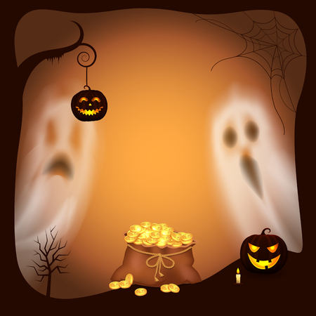 Happy Halloween pumpkin with light lantern vector. Apparitions and ghosts with scary faces jack on tree branch and bag filled with gold coins and cash