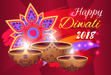 Happy Diwali 2018 Poster on Vector Illustration