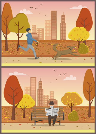 Old elderly man reading newspaper in city autumn park set vector. Male walking pet on leash, running dog wearing collar. Streets and falling leaves