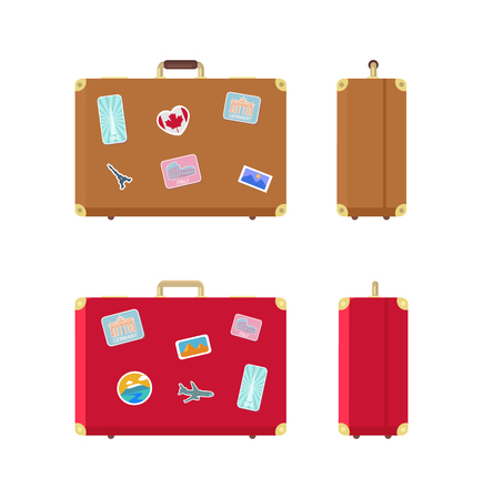 Luggage valises for traveling icons set vector. Stickers on baggage, airplane and Egypt landmarks, Rome and UAE highest building skyscraper in world Illustration