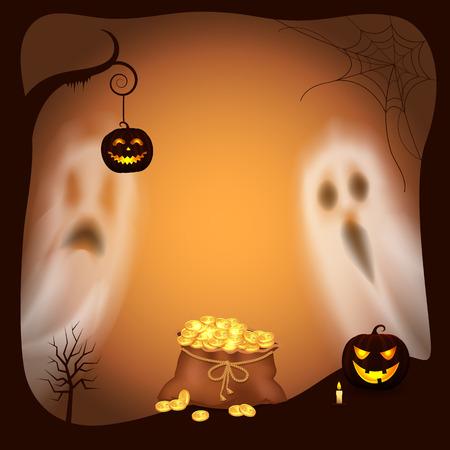 Glücklicher Halloween-Kürbis mit hellem Laternen-Vektor
