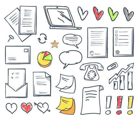 Office Paper and Hearts Isolated Icons Set Vector