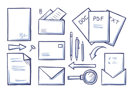 Office Supplies Papers and Documents Set Vector Zdjęcie Seryjne
