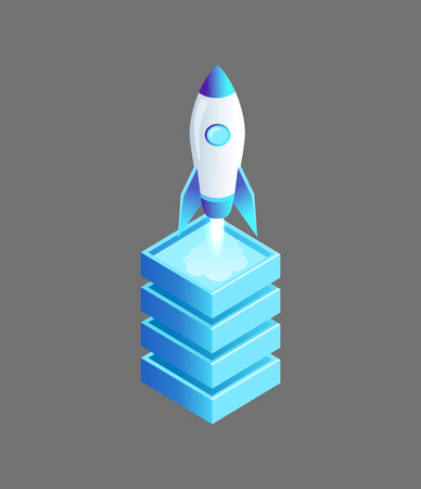 Launching Spaceship Rocket Vector Illustration