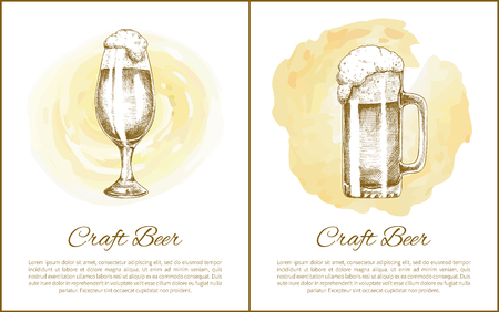 Craft beer objects set hand drawn vector sketches. Full tumblers with flowing foam isolated on beige stain vintage icons illustrations for bar menu