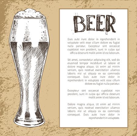 Sketch Style Pilsner Beer Glass on Vintage Tint