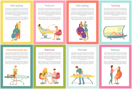 Body wrap and manicure tanning woman using solarium sunroom. Posters set with text sample and chocolate care, massage and visage, manicurist vector Illustration