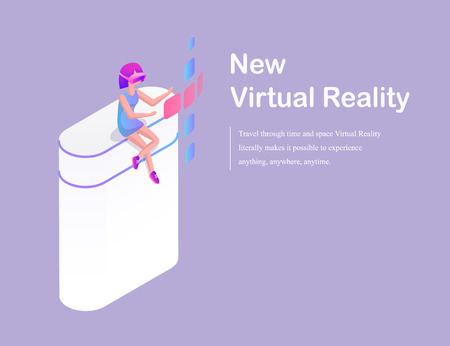 New virtual reality concept cartoon advertising vector banner. Girl sitting on isolated column in special headpiece with glasses, playing video games