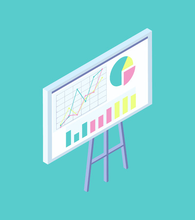 Blackboard on tripod with graphs, diagrams and bar charts cartoon banner vector icon. Classroom and lecture room equipment for writing information