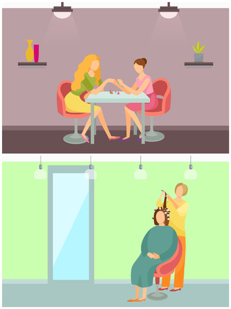Spa Salon Hair Styling and Manicure Set Vector
