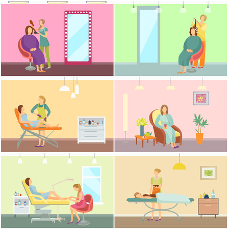 Hair styling of woman and pedicure service in beauty salon set vector. Resort relaxation and depilation with wax stripes, cholate spa and pedicurist Illustration