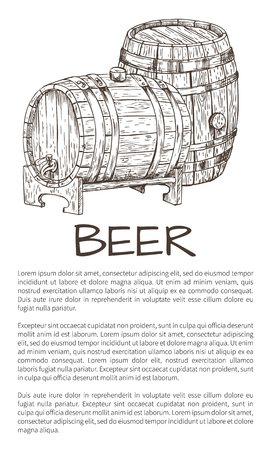 Monochrome information poster for advertisement with wooden barrel in sketch style and text sample vector illustration on neutral white backdrop.