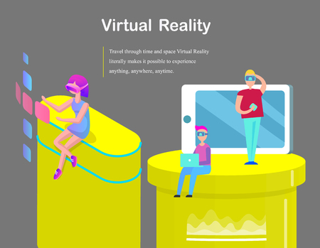 Virtual Reality for Girls and Boys Cartoon Banner