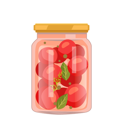 Veggie winter preservation in screw-cap glass jar. Tomato vegetable with bay leaf, whole pepper and dill spicery flat vector illustration isolated.