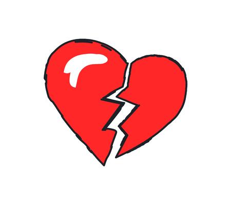 Gros plan sur l'icône rouge coeur brisé. Mettre fin à la relation ou au mariage. Rupture et séparation du couple, amour fissuré isolé sur illustration vectorielle Vecteurs
