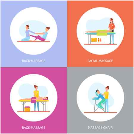 Facial and back massage and special chair cartoon vector set. Masseuse in uniform massaging clients lying on table and sitting on armchair and on rug