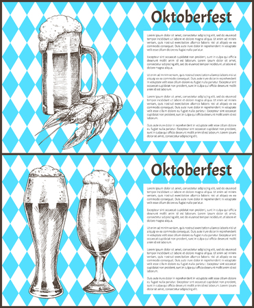 Oktoberfest beer objects set hand drawn icons. Full tumblers with flowing foam and lobster snack on blue and white rhombuses vintage vector template
