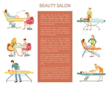 Beauty salon poster with text sample and working beauticians set vector. Pedicure and manicure, massage and chocolate spa, body wrap and depilation Illusztráció