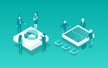 Blockchain meetings set of isolated isometric icons 3d. People workers discussing data and cryptocurrency information, Pie diagram analysis vector