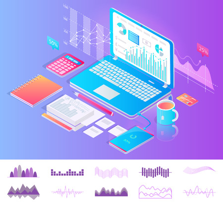 Laptop on desktop with diagrams workplace concept vector banner. Tablet with charts on screen, calculator and pencil, notebook and sheets of paper Standard-Bild - 127259174