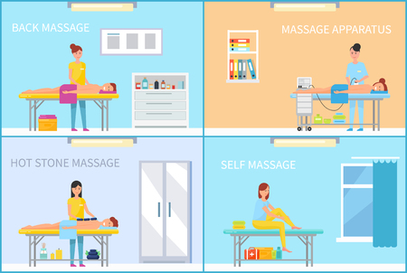 Specialist in uniform stretching back of client with hands and apparatus and hot stone. Medical massage in massaging cabinet cartoon set vector banner. Ilustração
