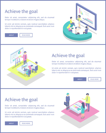 Achieve goal posters with text sample and web pages info set vector. Screens and monitors, presentation and explanations by presenters to listeners