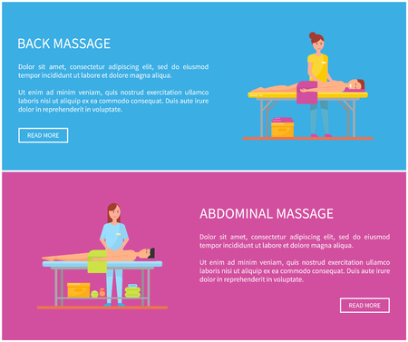 Back and abdominal massage therapy techniques. Posters set with text sample, male relaxing and woman massaging body. Masseuses and clients vector