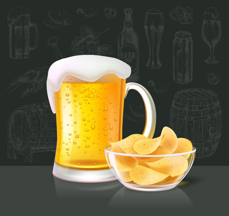 Beer alcoholic drink poured in glass with foam top. Crisps in bowl salty taste of chips accompanying liquid. Brewery and beverage with alcohol vector
