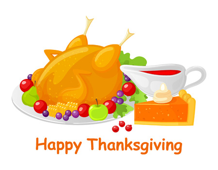 Happy Thanksgiving Turkey Meal Dish Poster Vector Ilustracja