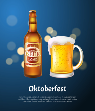 Oktoberfest poster with beer in bottle and mug. Craft alcohol drink festival, beverage made of hop, barley or yeast realistic vector illustration. Illusztráció