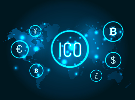 Ico and currencies icons with globe map vector. Network and connection between bitcoin, American dollar and euro currency, yen and pound sterling