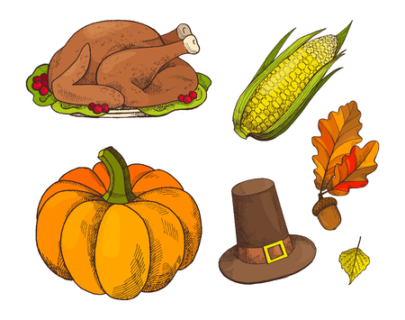 Pumpkin and cooked meet of turkey isolated icons set vector. Symbols on Thanksgiving autumn holiday, hat and corn, leaves foliage with acorns hanging