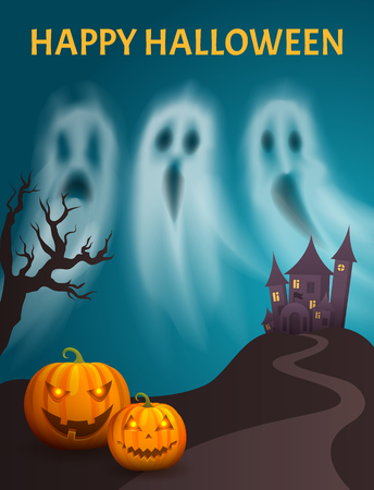 Happy Halloween Spooky Castle Hill Poster Vector 스톡 콘텐츠 - 113271037