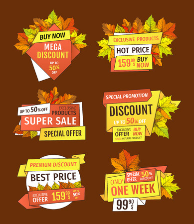 Promotion discounts on Thanksgiving day isolated, exclusive offer buy now labels with oak tree leaves. Vector autumn sale emblems, yellow foliage Illustration
