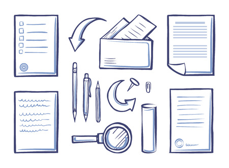 Office papers and magnifying glass, set vector. Monochrome sketches outline icons, pen and pencil with envelopes and messages. Letters with pages