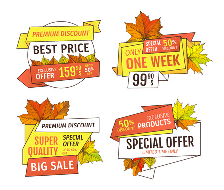 Thanksgiving offer only week at holidays. Price promotional labels with maple leaves, oak foliage autumn symbols advert emblems isolated vector Illustration
