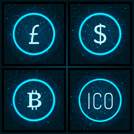 Bitcoin and yen ico and American USA dollar icons set vector. Finance and business of investments and blockchain technology. Digital virtual money Illusztráció