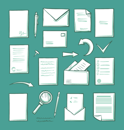 Office paper and magnifying glass isolated icons vector. Pages and arrowheads, envelopes with letters and business correspondence. Pointers and mail