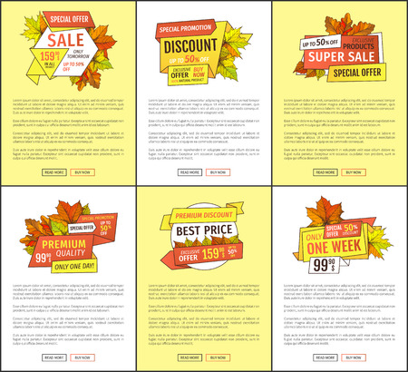 Autumn fall costs reduction web banner. Advertisement posters with maple leaves. Mega discounts on exclusive products special promotion 99.90 price buy now Illustration