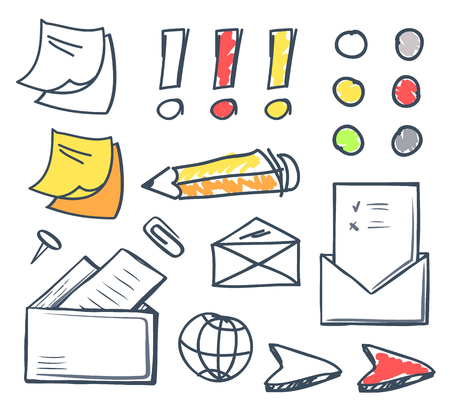 Office paper and pencil for writing on isolated icons set vector Envelope and message correspondence, globe and cursor, memo and sticker for notes Ilustrace