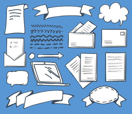 Office thought bubbles and papers isolated icons set vector. Laptop monitor screen and ribbon for text, message and envelope with opened document Ilustrace