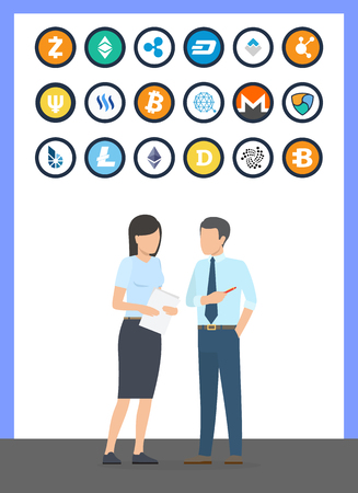 Bitcoin cryptocurrency coins and currency of different types set vector. Litecoin and dogecoin, dash and bitshare. Monero and people with documents