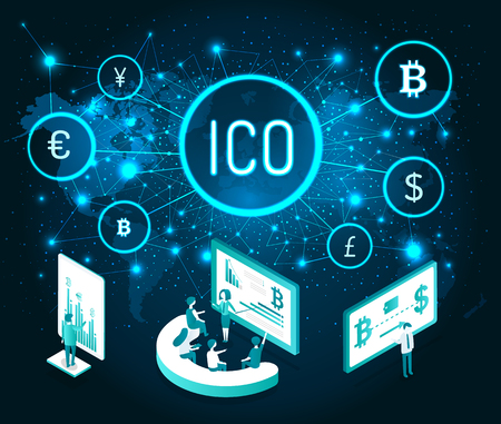 Ico cryptocurrency and digital presentation of people set vector. Seminar and teaching, manager explaining details of mining process. Currency icons