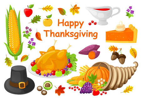 Happy Thanksgiving Poster with Icons Set Vector